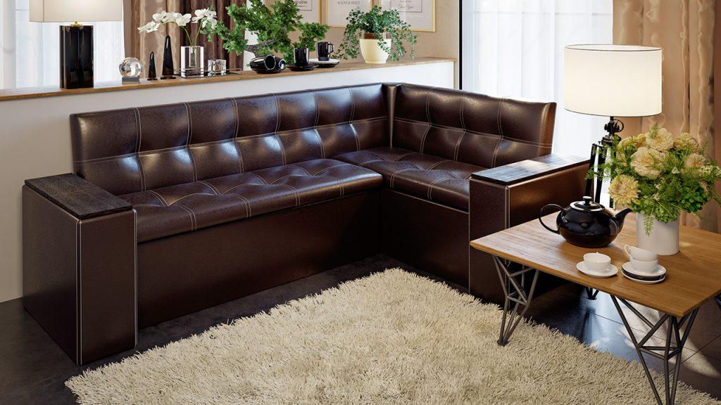 кожаный диван со спальным местом для кухни