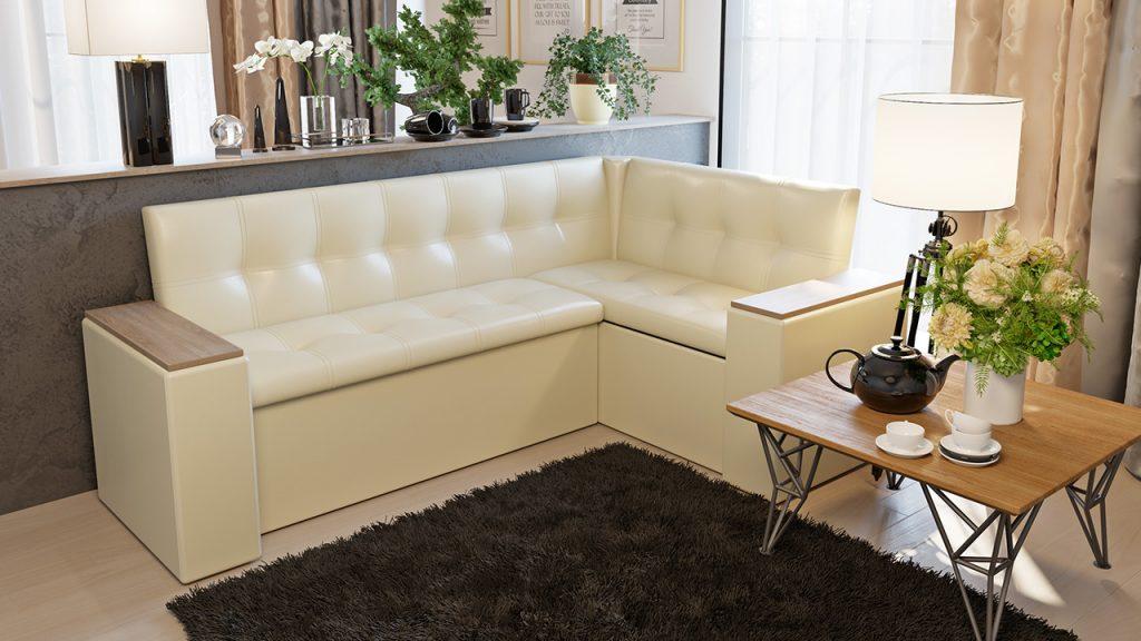 белый диван из кожзама со спальным местом для кухни