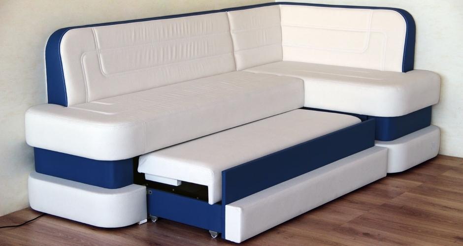 белый с синим диван со спальным местом для кухни