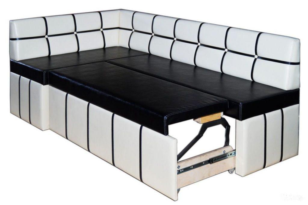 диван со спальным местом для кухни в разложенном виде