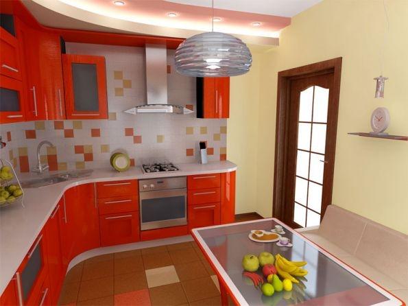 оранжевая кухня 11 кв.м.