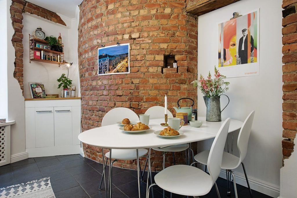 кухня 11 кв.м. с кирпичной кладкой
