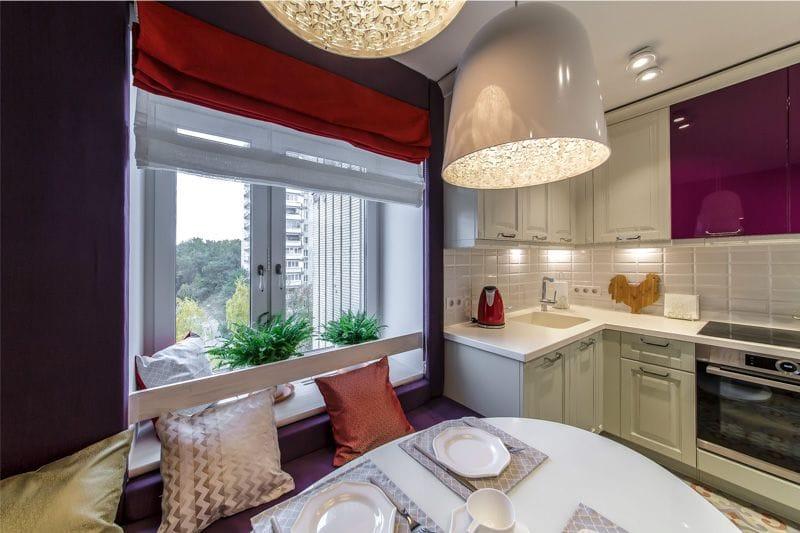 кухня 11 кв.м. с фиолетовым декором