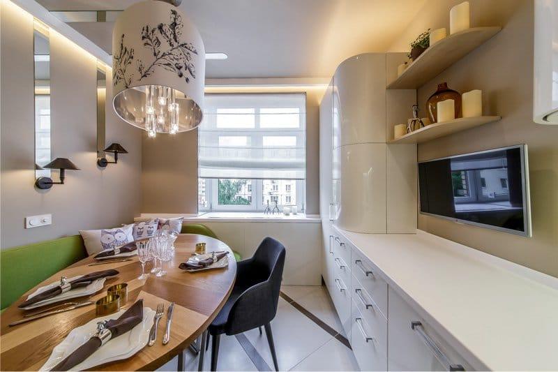 кухня 11 кв.м. с глянцевыми фасадами