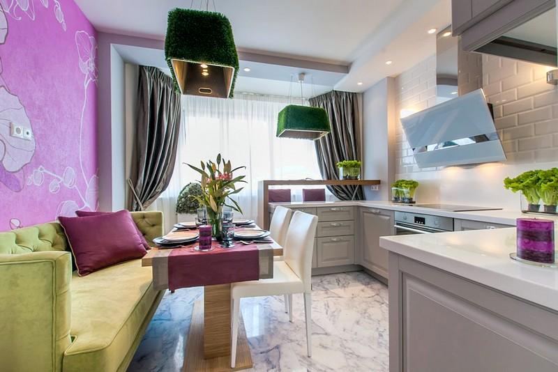 дизайн кухни 13 кв м с диваном