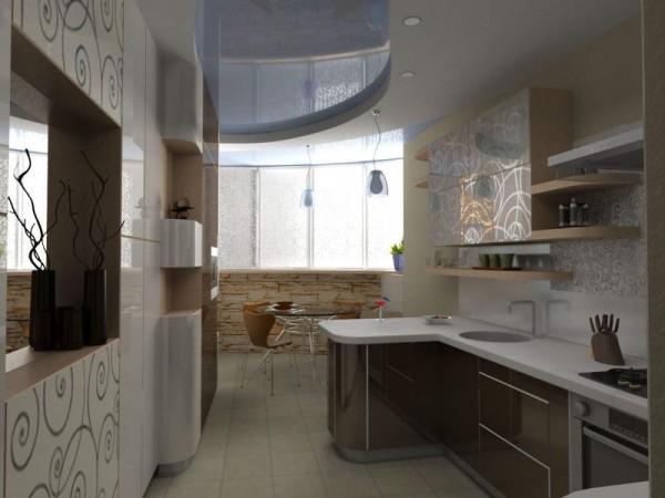 полуостровная кухня 13 кв. метров