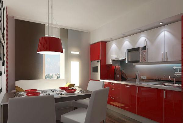красная кухня 13 кв. метров