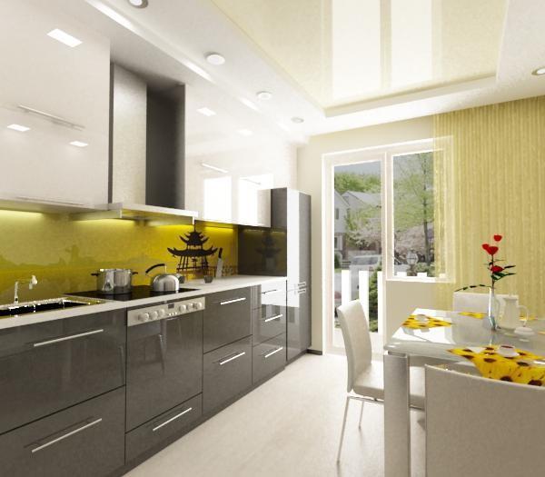 кухня 13 кв. метров с зелёным фартуком из оргстекла