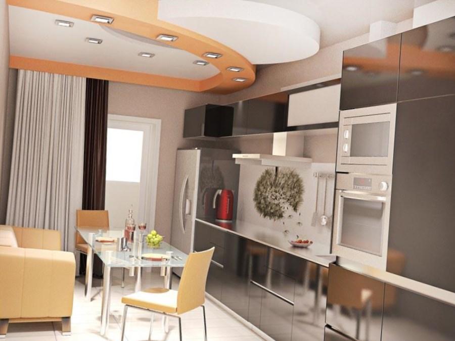 металлические фасады кухни 13 кв. метров