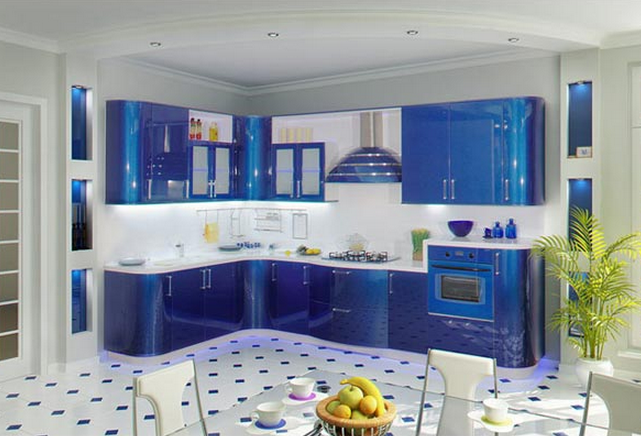 синяя кухня 13 кв. метров