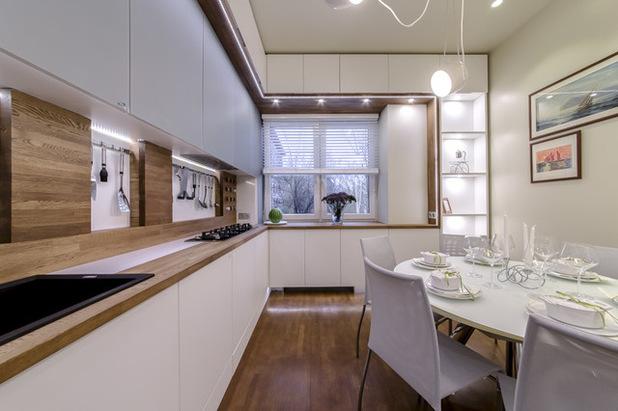 белая угловая кухня 13 кв. метров