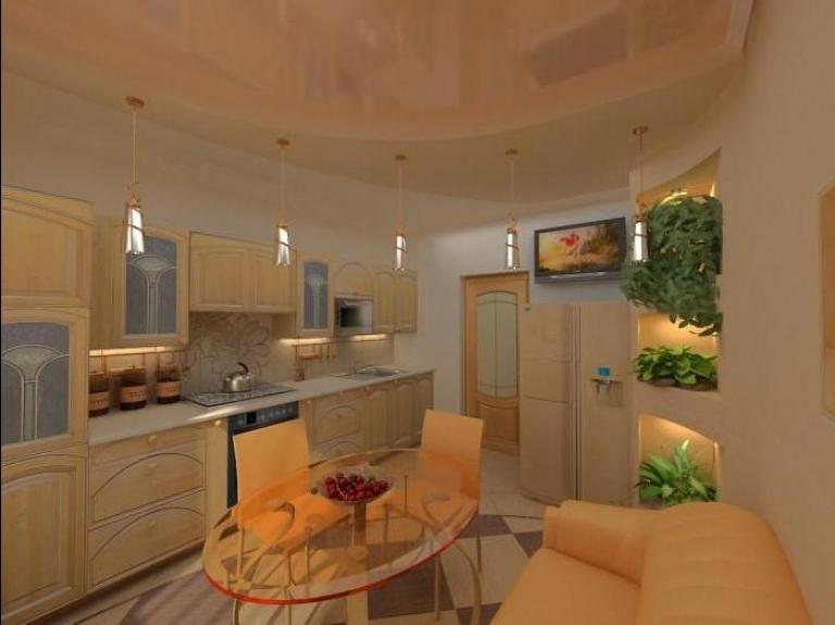 натяжной глянцевый потолок на кухне 13 кв. м