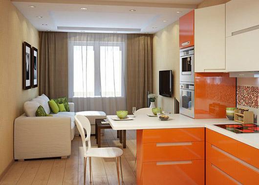 оранжевая кухня 13 кв. метров