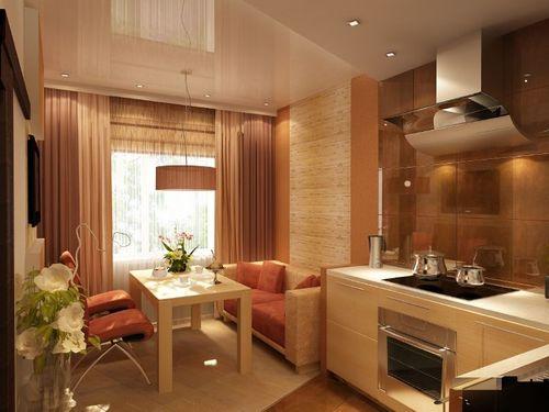 коричневая кухня 13 кв. метров