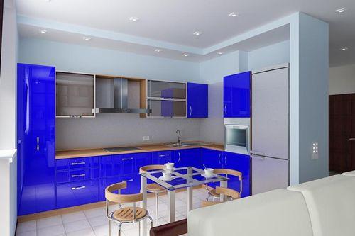 синяя угловая кухня 13 кв. метров