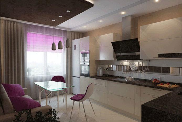 кухня 13 кв. метров в бежевых тонах