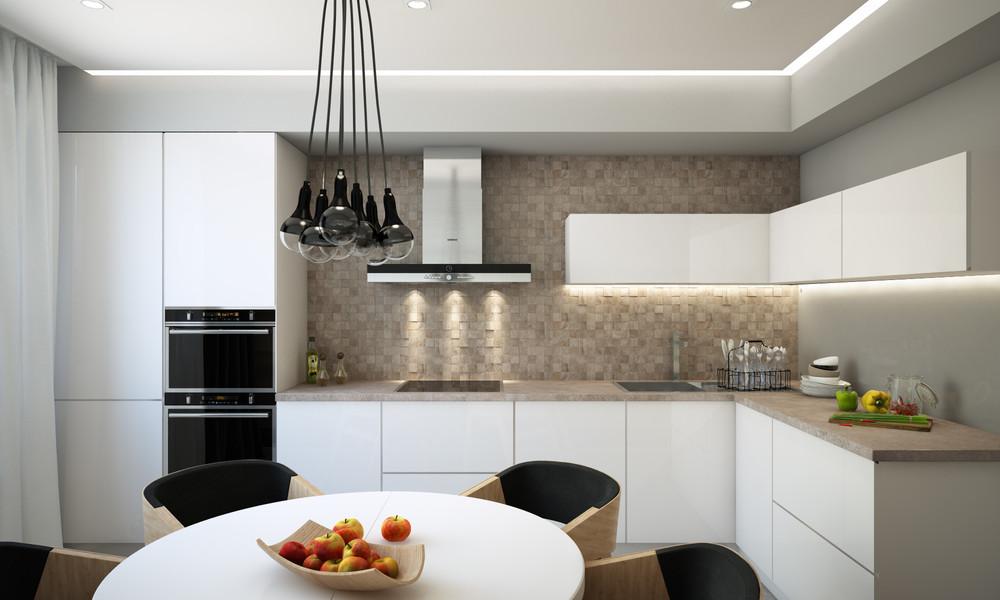 угловая белая кухня 13 кв. метров