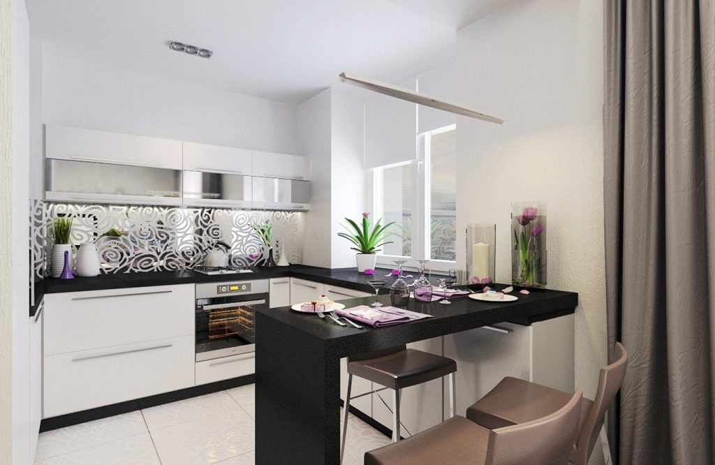 сочетание белого и чёрного на кухне 7 кв.м.