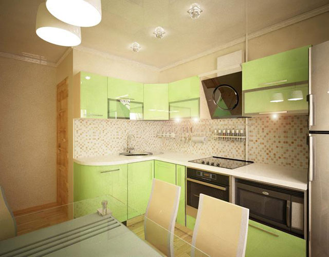 зеленый цвет кухни 7 кв.м.