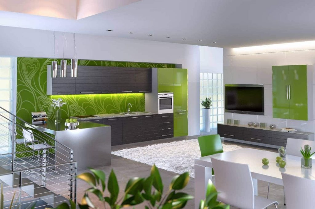 контрастная бело-зеленая гамма кухни