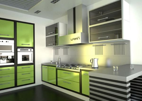 серый на зелёной кухне
