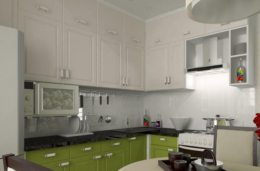 оливковый и белый на кухне