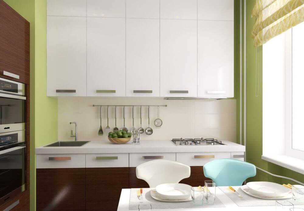 зелёный оттенок стен на кухне