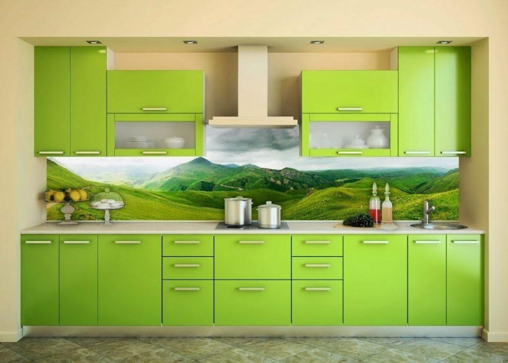 салатовые фасады на кухне