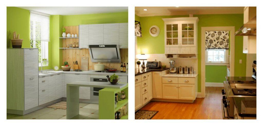 зелёные стены на кухне
