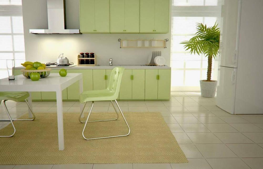 зелёный и белый на кухне