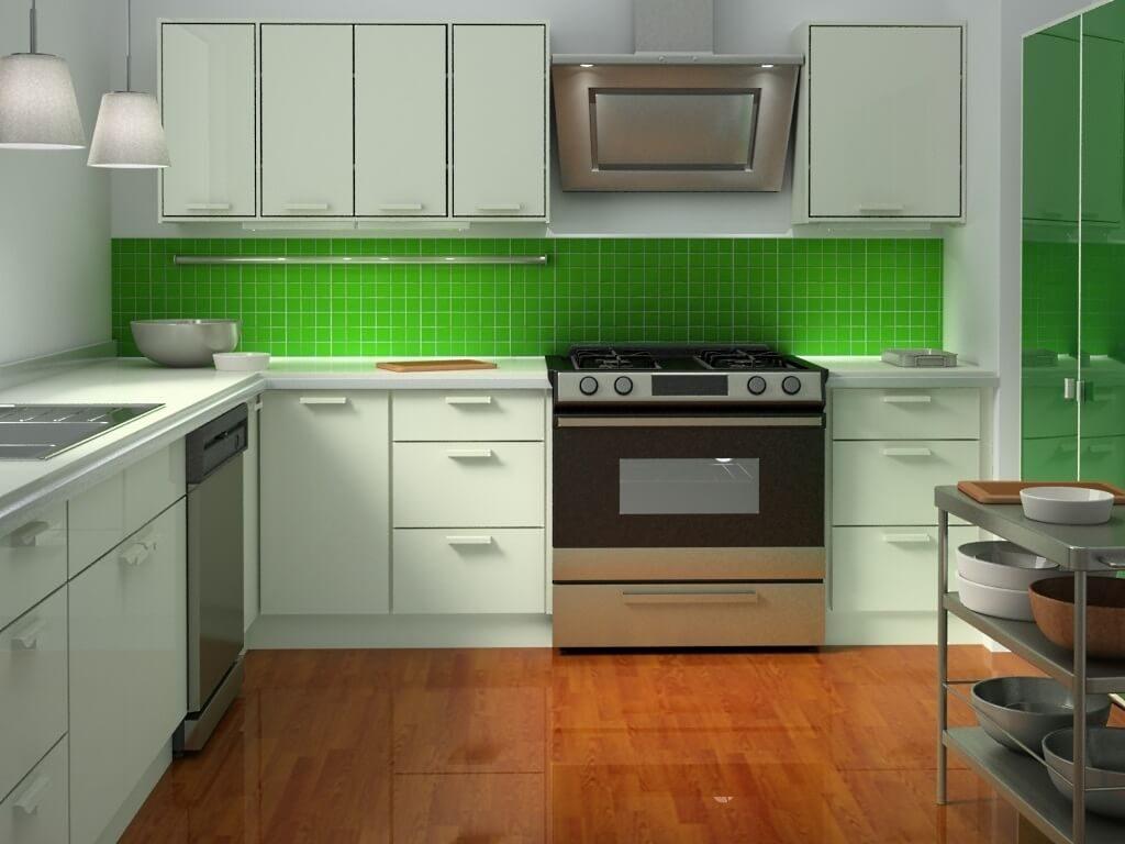 зелёный фартук на кухне