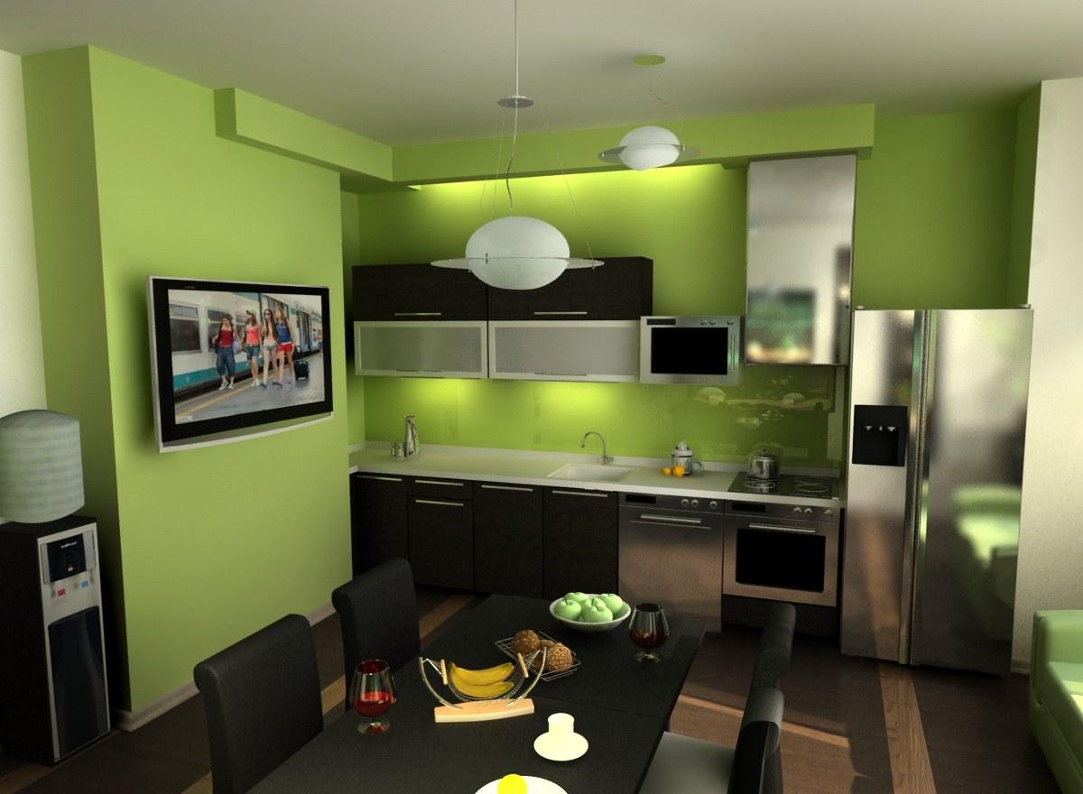 Дизайн зеленая кухня