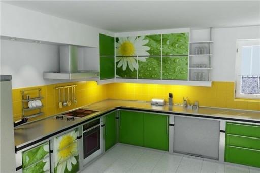 жёлтый и зелёный на кухне