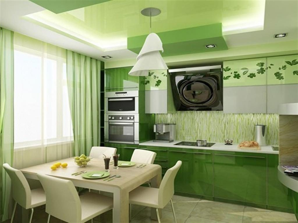 насыщенный зелёный на кухне