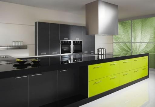 зелёный и чёрный на кухне