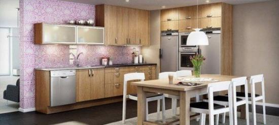 комбинирование фиолетовых обоев на кухне