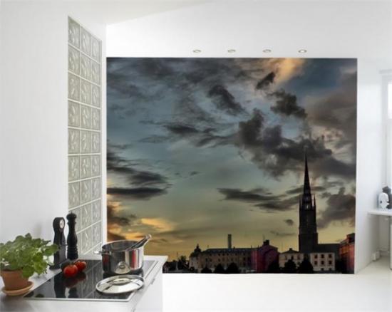 фотообои с пейзажем города на кухне