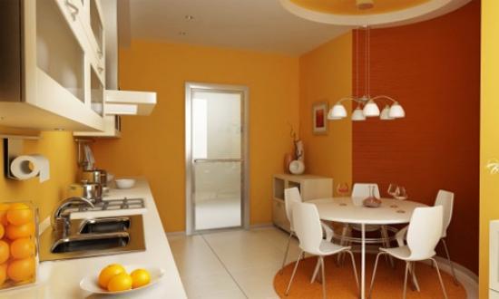комбинирование жёлтых обоев на кухне