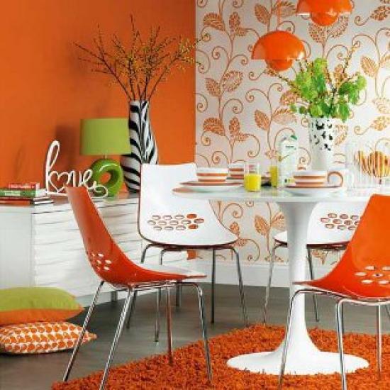 комбинирование оранжевых обоев на кухне
