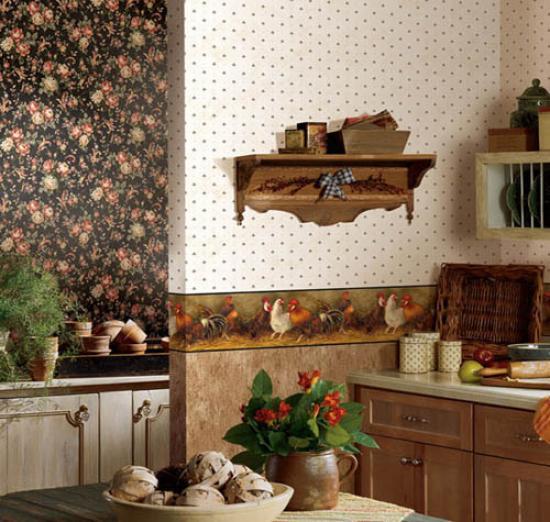 комбинирование обоев с разными рисунками на кухне