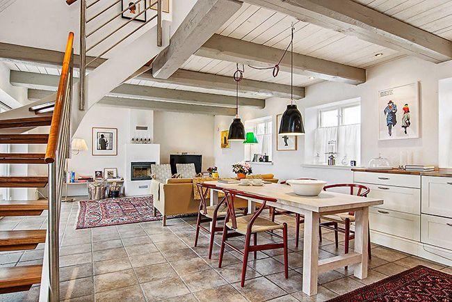 красивый интерьер кухни гостиной