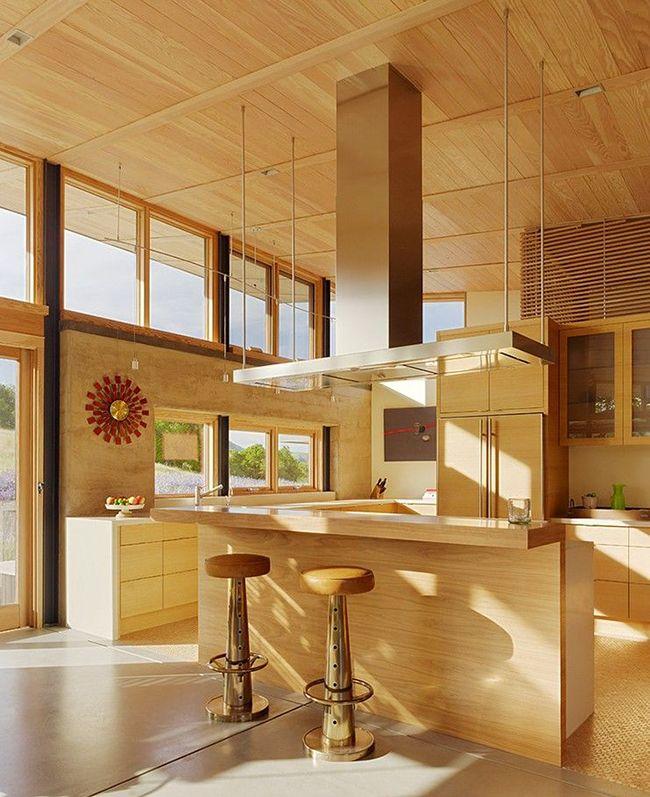 красивый интерьер кухни под дерево