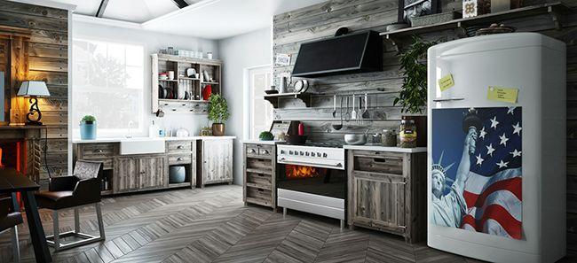 серый на кухне