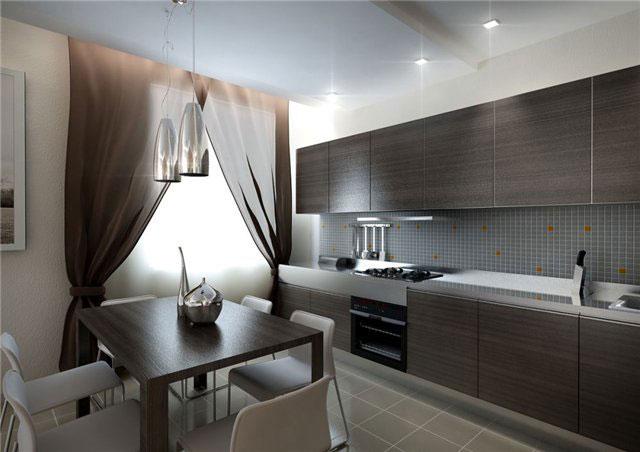 дизайн квадратной кухни 10 кв.м