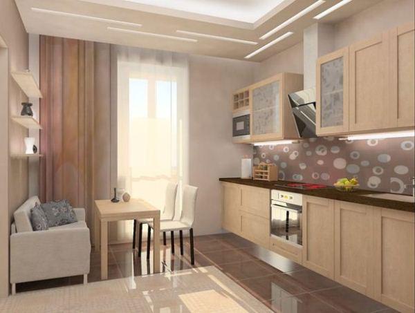 интерьер кухни 10 кв м с диваном