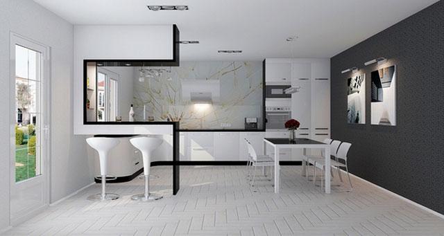 Черно-белая кухня хай тек