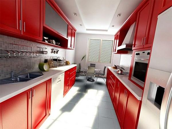 кухня 10 кв.м с красными фасадами