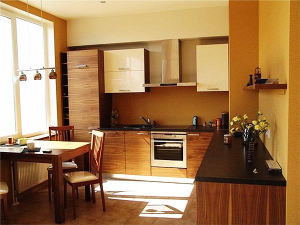 коричневая кухня 10 кв.м