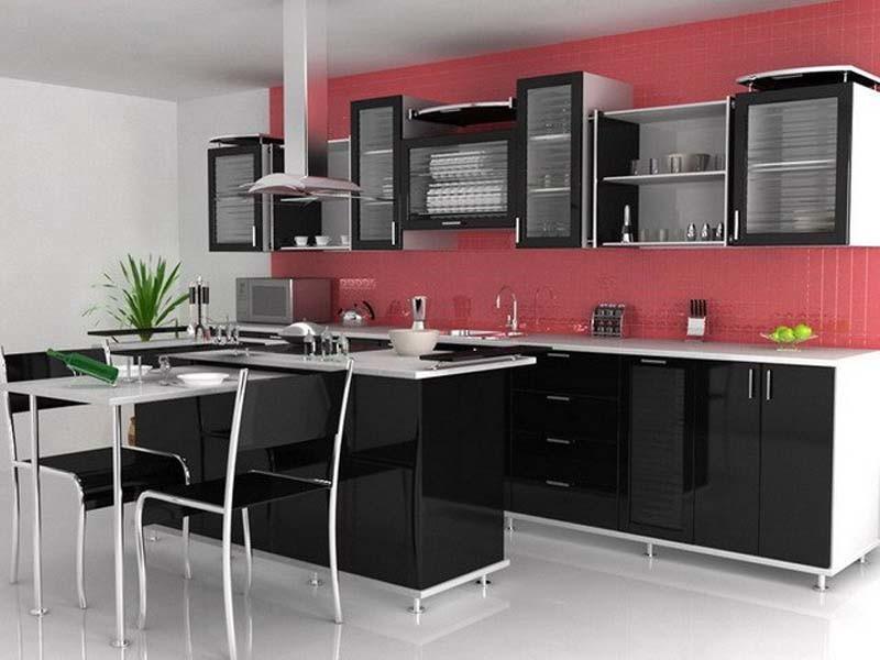 чёрная кухня 10 кв.м
