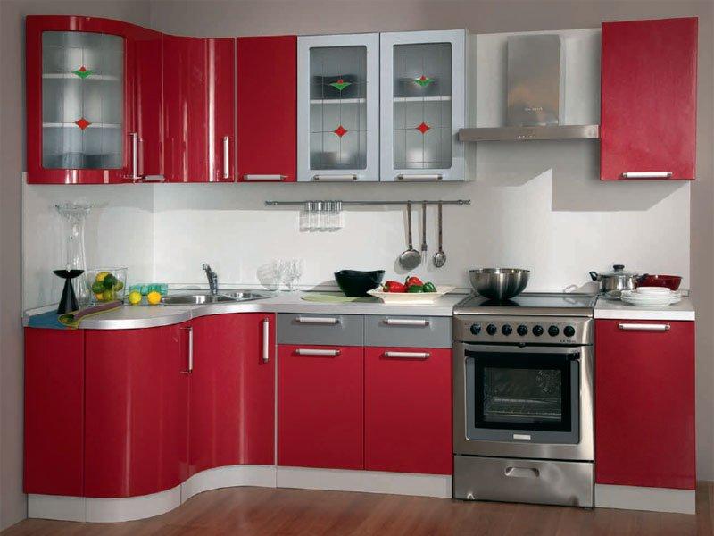 красный гарнитур для кухни 1 0кв.